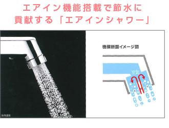 エアイン機能搭載で節水に貢献する「エアインシャワー」